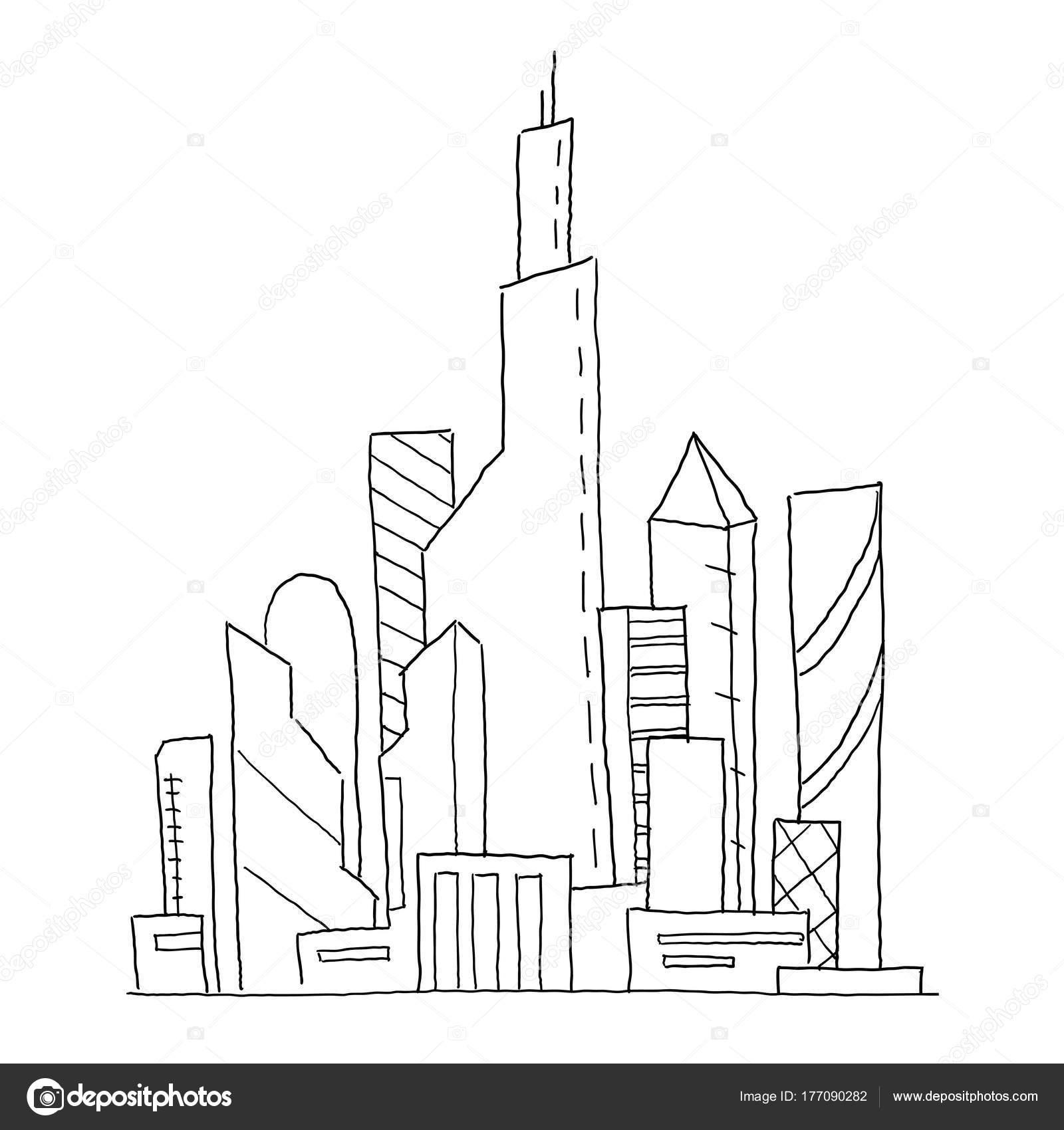 Ciudad futura. Ilustración de dibujo de vector dibujado a mano ...