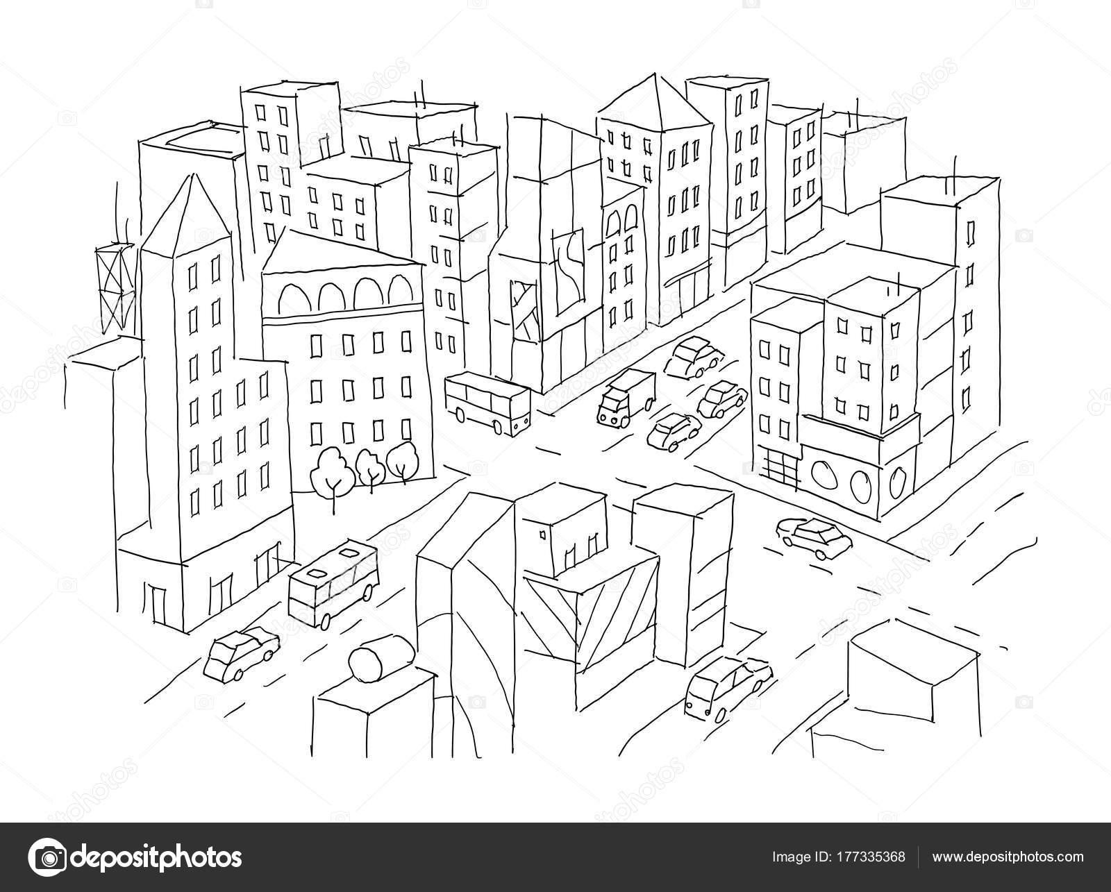 Bosquejo de la intersección de calle de la ciudad. Vista de la ...