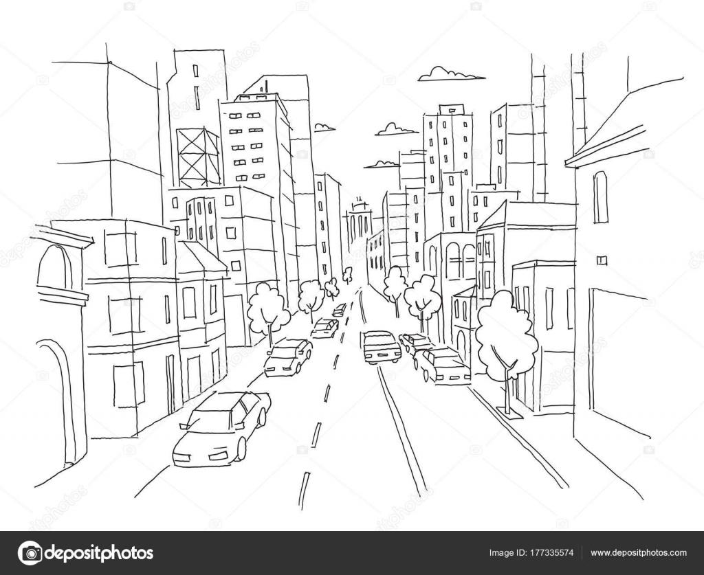Calle ciudad lineal esbozo carretera perspectiva. Autos terminan ...