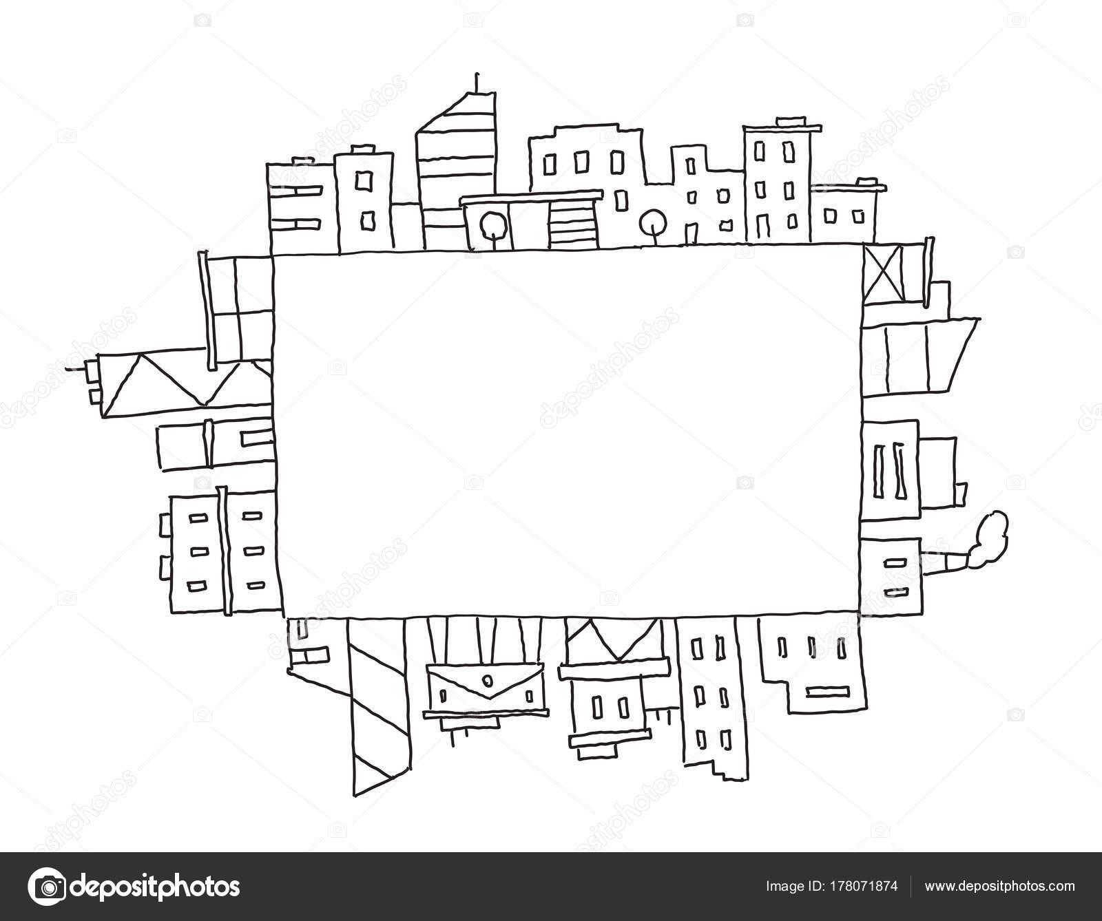 Stadtpanorama In Rechteckige Flache Zeichnen Platz Fur Text Handgezeichnete Skizze Lager Linie Vektorgrafik Gebaude Architektur Landschaft
