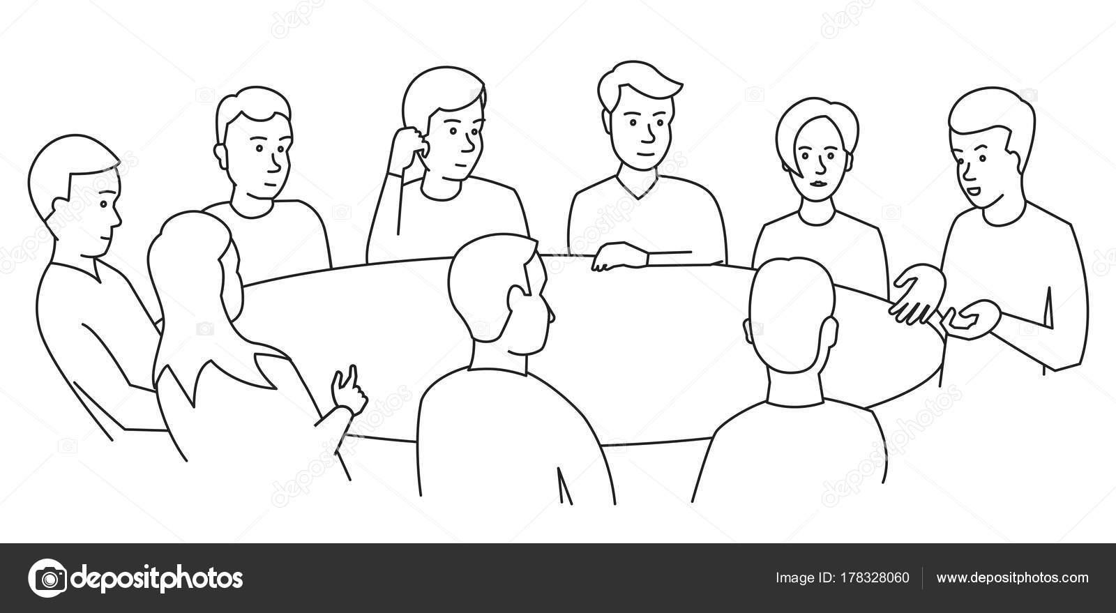 Habla de la mesa redonda. Empresarios de equipo conocer a nueve ...