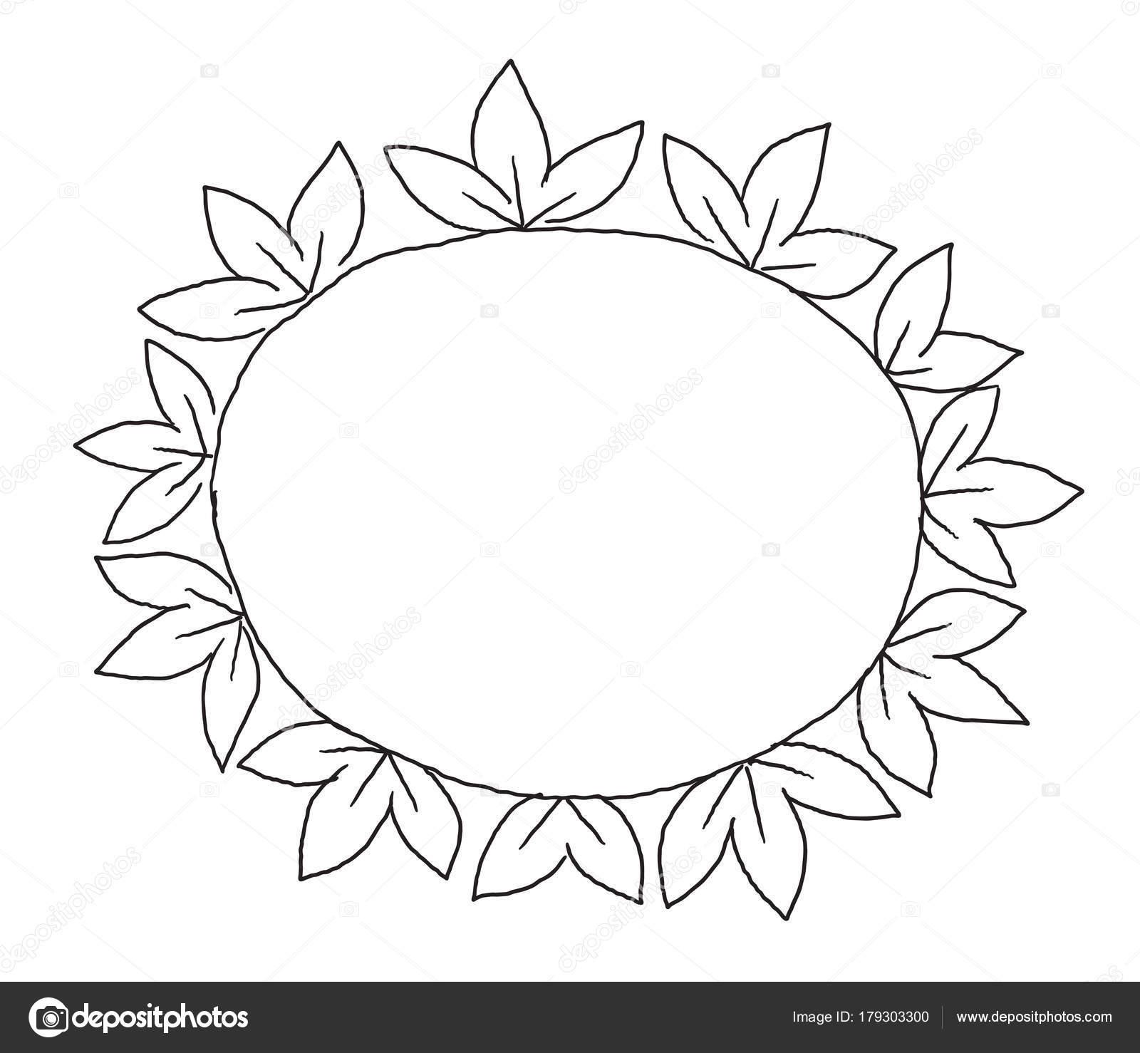 Adorno de hojas marco en círculo tres hojas de dibujo decoración ...