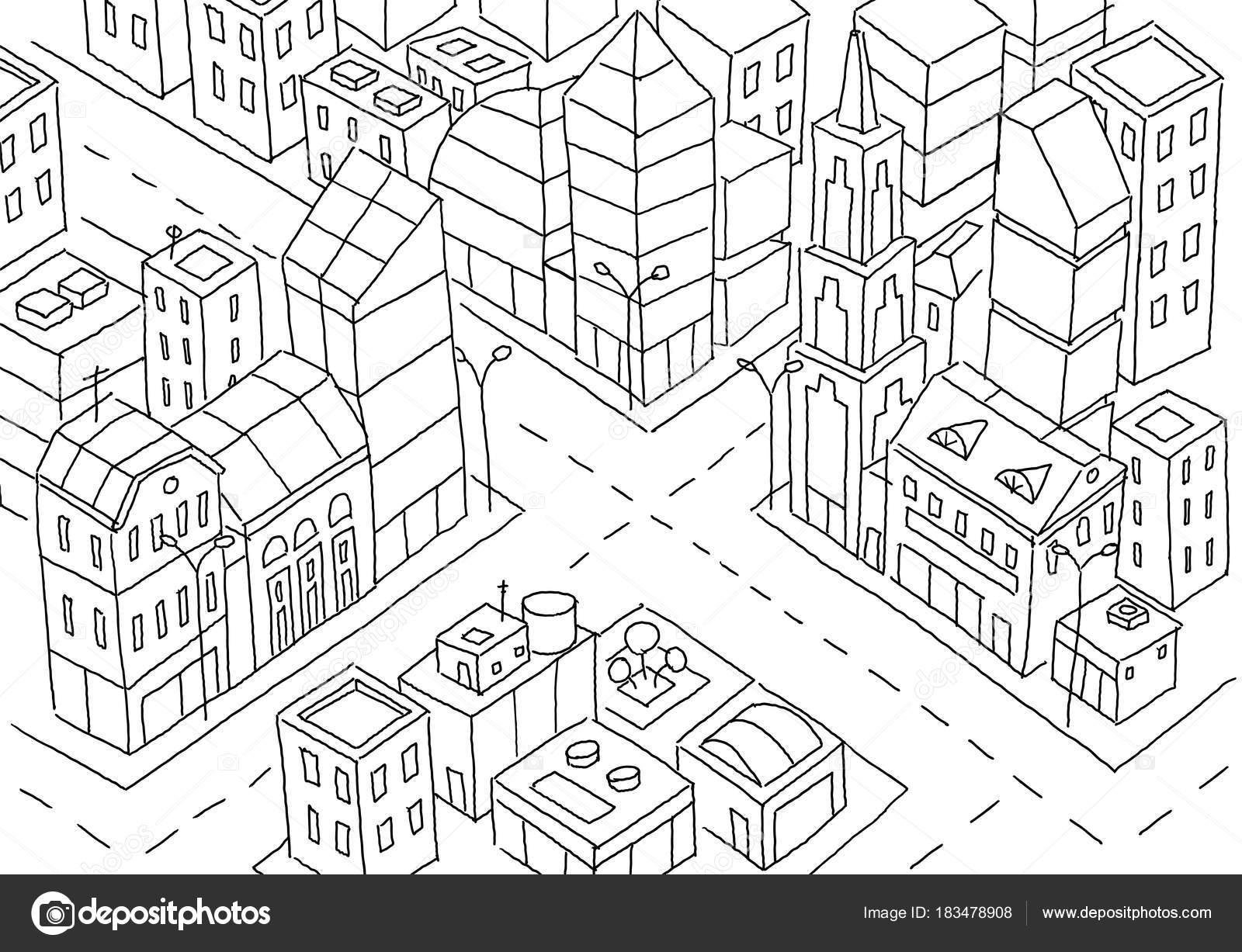 Schnittpunkt Der Grossstadt Skizze Wolkenkratzer Und Hochhauser Architektur Im Zentrum Handgezeichnete Schwarze Linie
