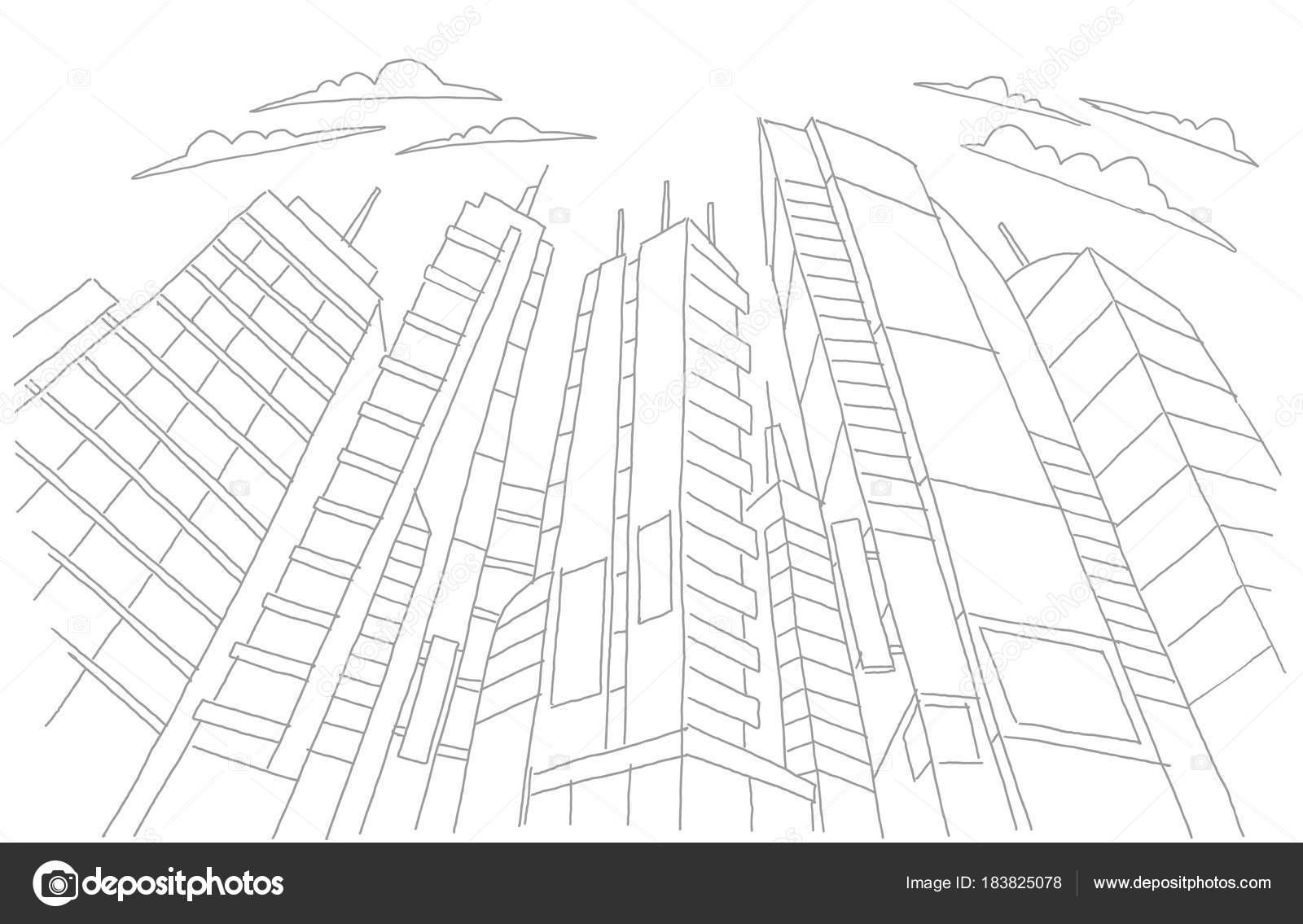 Grandes rascacielos bosquejo edificios. Esqueleto gris línea trazos ...