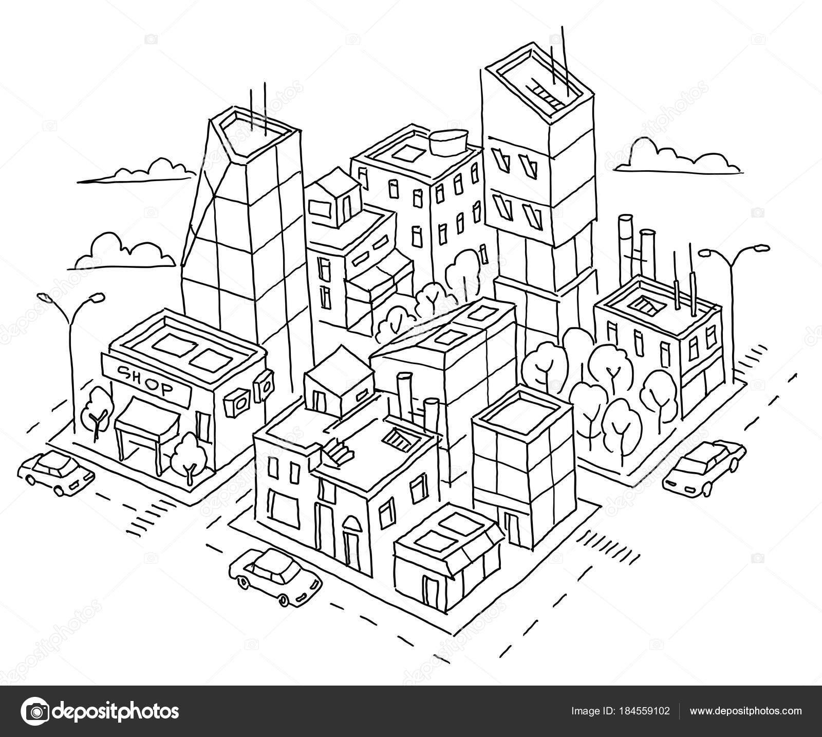 Isometrische Quartal Grossstadt Skizze Wolkenkratzer Und Hochhauser Architektur Im Zentrum Handgezeichnete Schwarze Linie