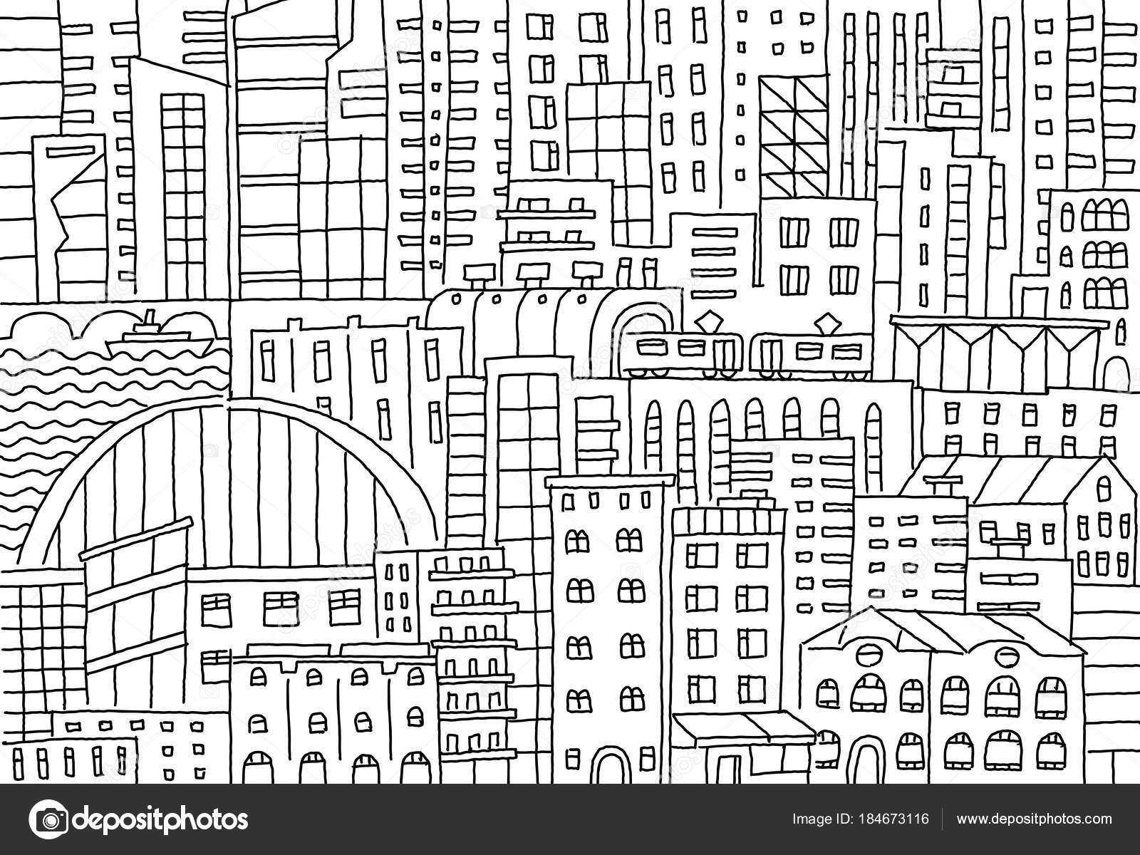 Rascacielos de textura de fondo de gran ciudad bosquejo edificios ...