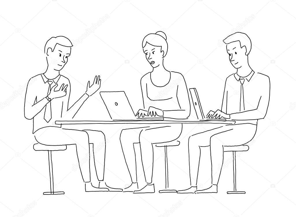 Personas Trabajando En Equipo Para Colorear