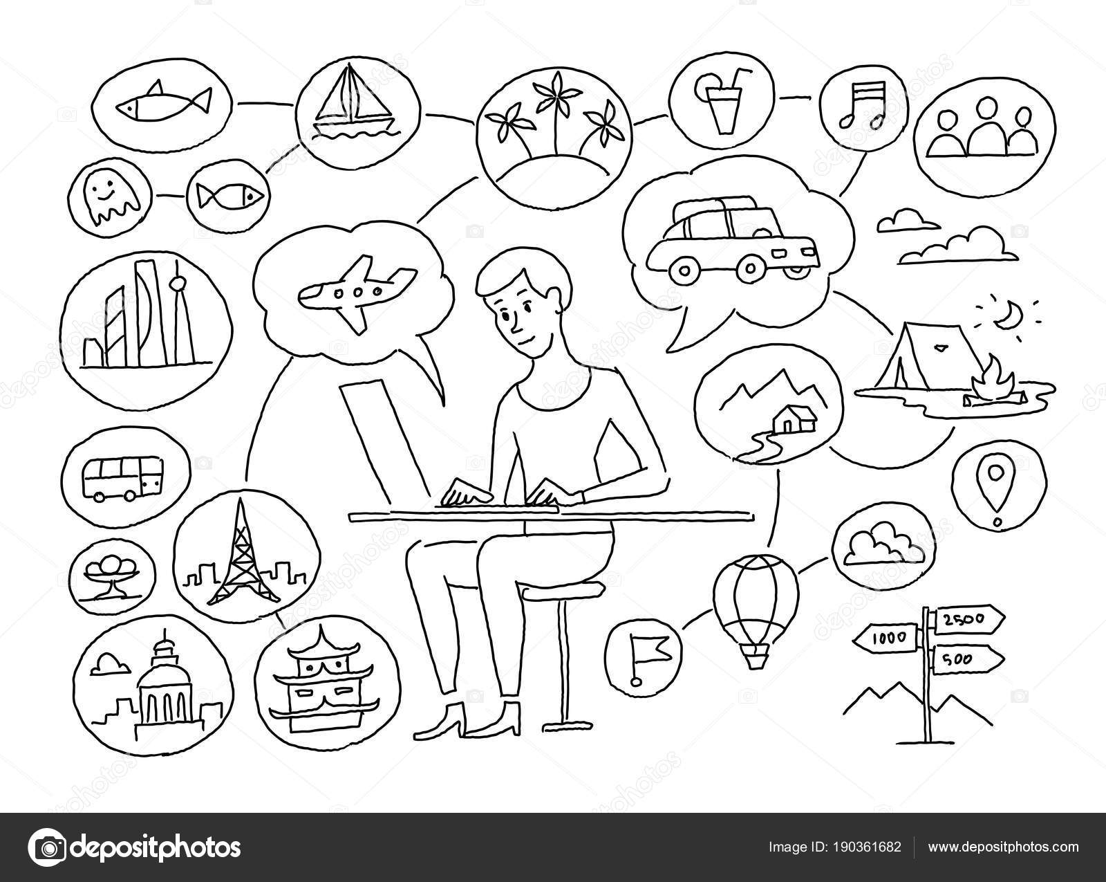 Travel Agent Thoughts About The Road Plane Transport Resort Hand Drawn Black Line Vector Stock Clipart Illustration By Ilyakalinin