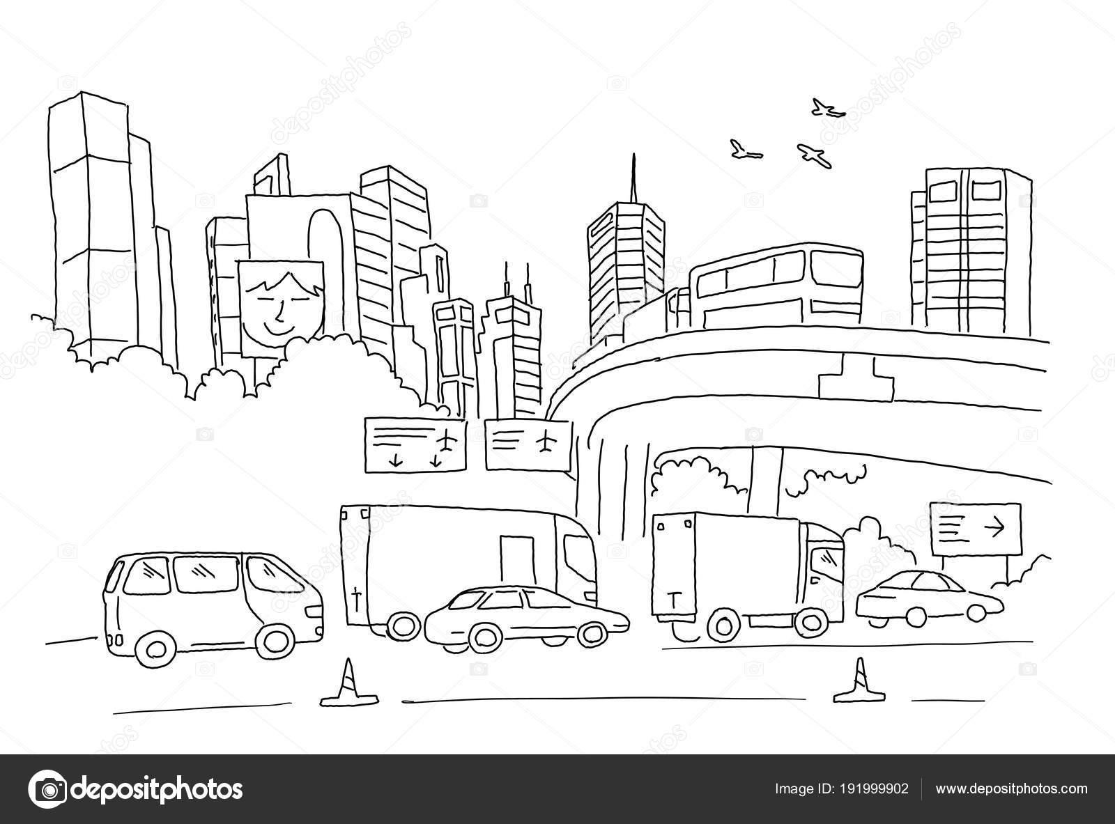 Panorama de la ciudad con la carretera, el transporte y rascacielos ...