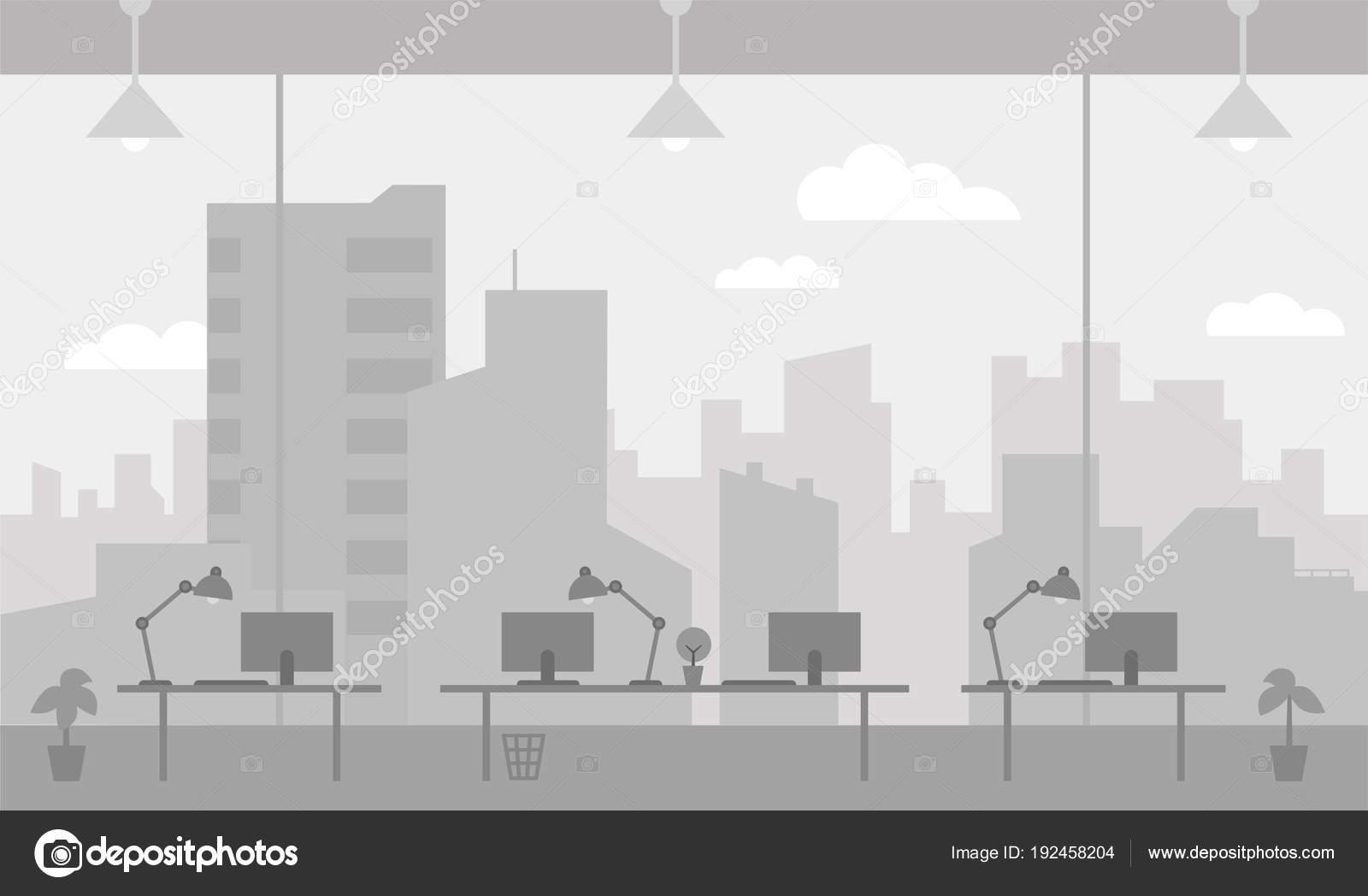 Lavoro Ufficio Clipart : Ufficio sul posto di lavoro colore grigio finestra sfondo stanza