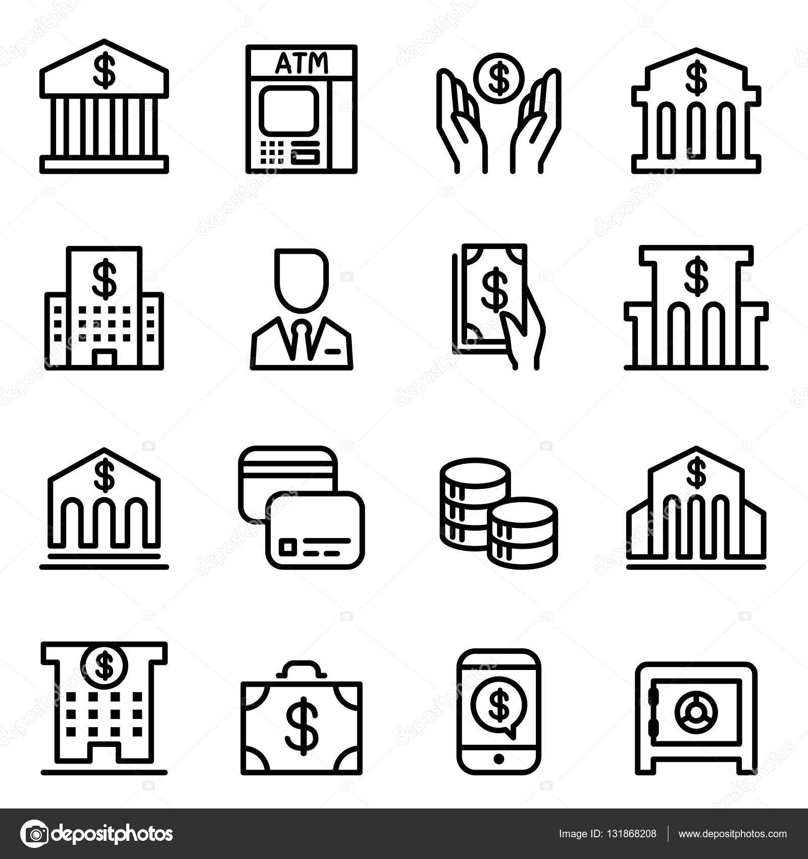 銀行のアイコン ベクトル イラスト グラフィック デザインの薄い線の