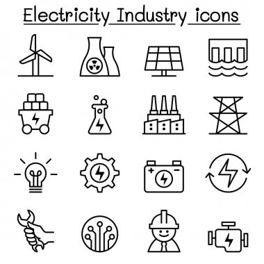 Electricity industry icon in thin line style