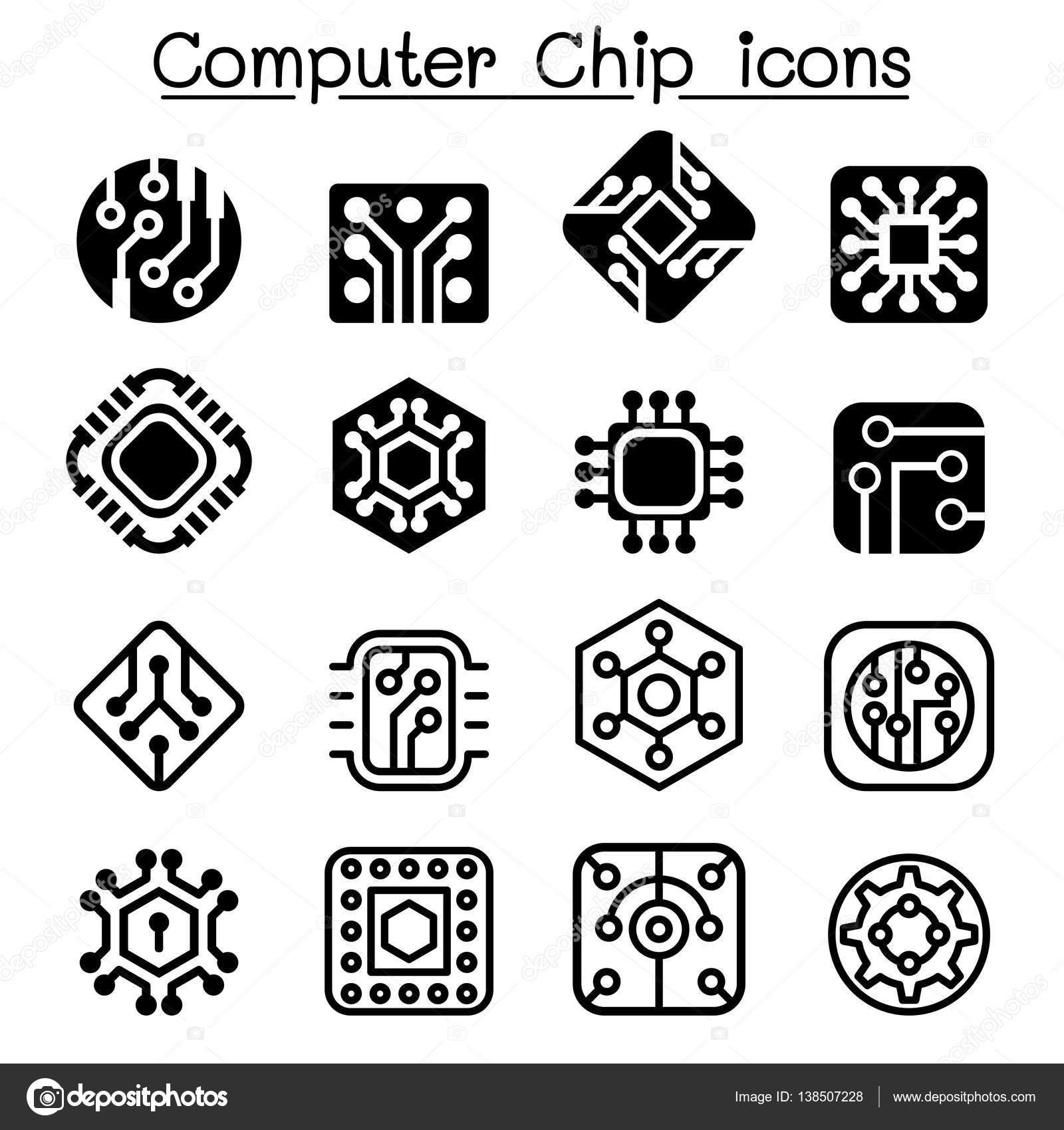 Computer-Chips und elektronischen Schaltung Symbole — Stockvektor ...