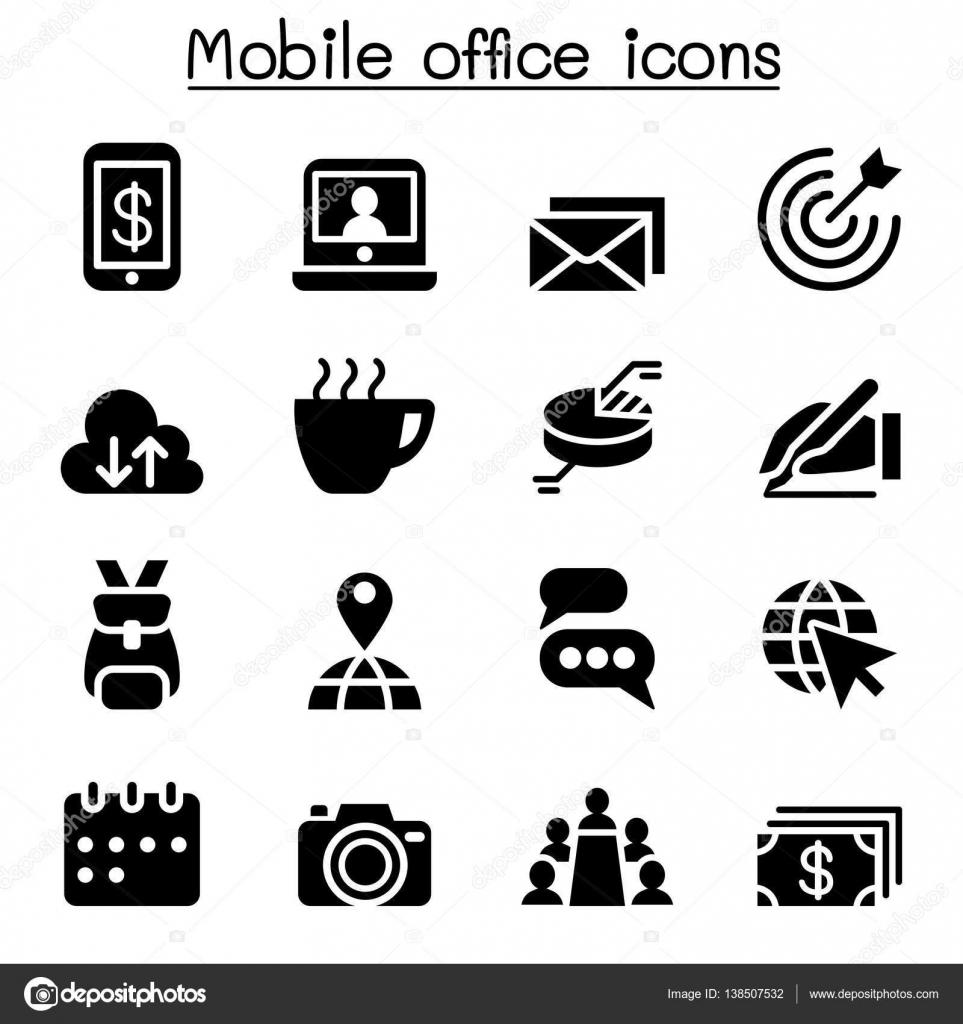 Mobiles Buro Icon Set Stockvektor C Slalomop 138507532