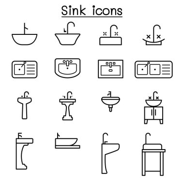 Sink icon set in thin line style