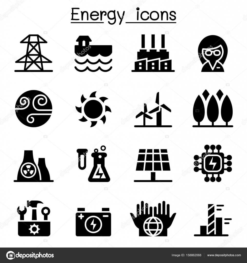 Energie Stromversorgung & Symbole — Stockvektor © slalomop #158862068
