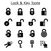 Security, Lock  Key icon set vector illustration graphic design