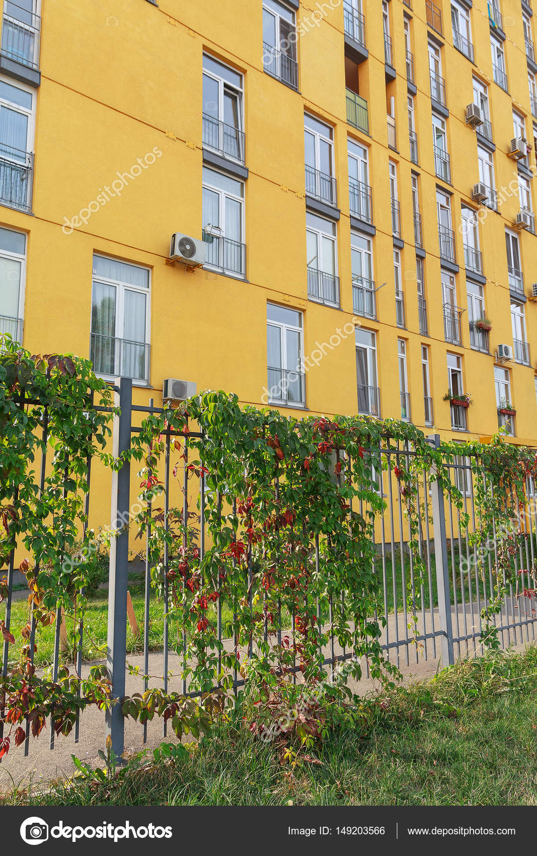 Fassade Ein Modernes Mehrstockiges Haus Und Einen Zaun Mit Efeu
