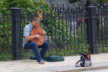 Kiev, Ukraine - July 16, 2017: Street musician plays Ukraine tradition instrument