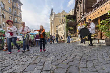 Kiev, Ukraine - August 24, 2017: Townspeople and tourists in the Andreevsky Descent - the historical part of the city