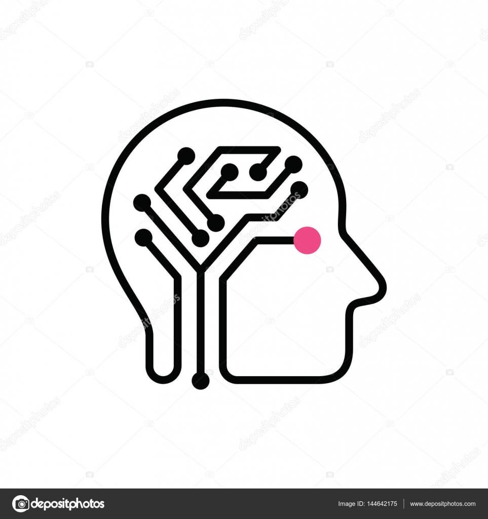 human brain as digital circuit board  vector icon   u2014 stock vector  u00a9 tetiana svirska  144642175