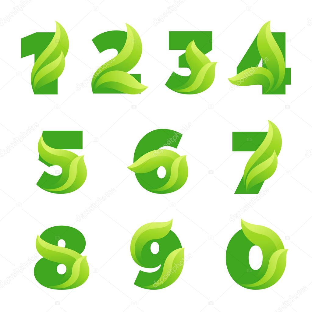 Numbers set with green leaves. Vector eco design.