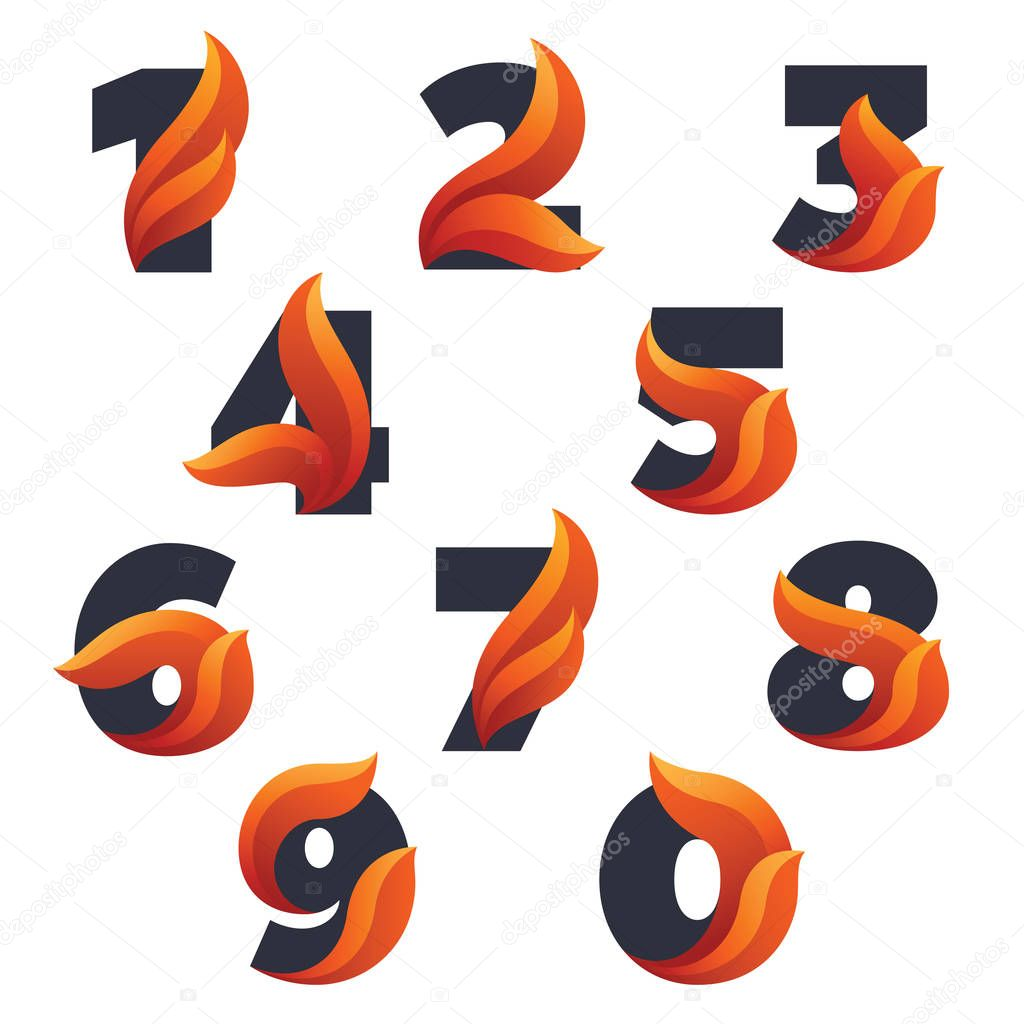 Numbers set with with fire flames.