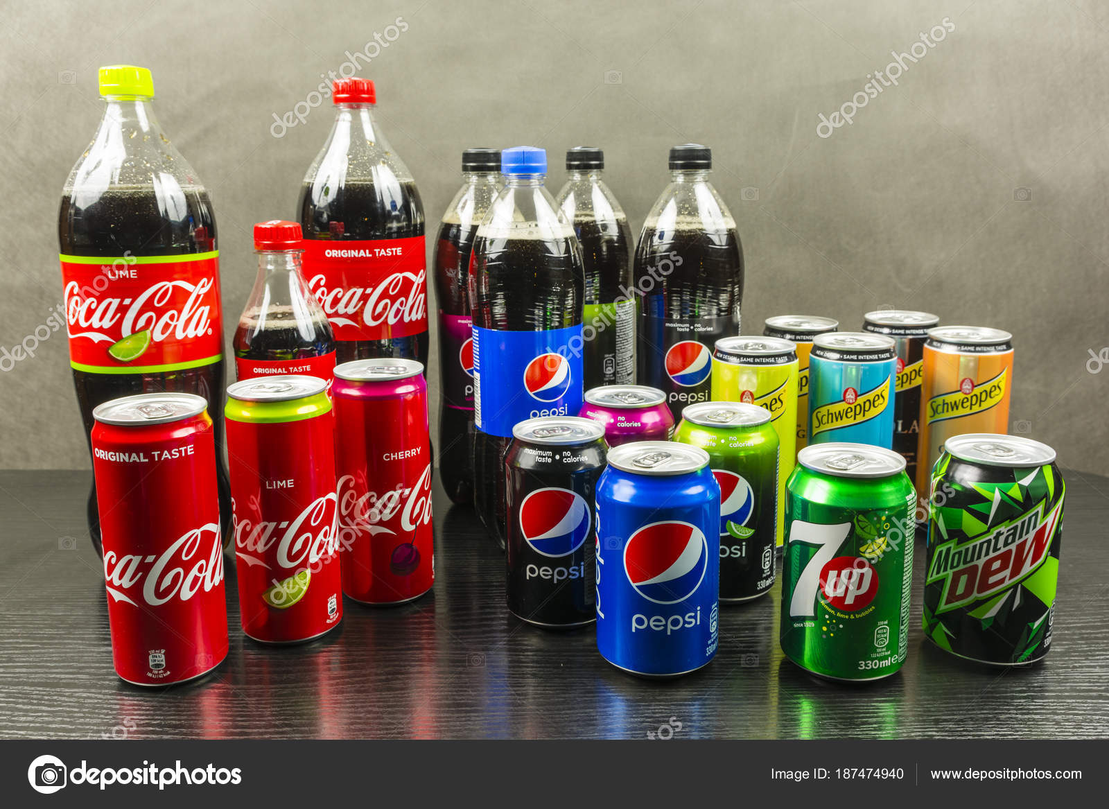 Collection Of Carbonated Soft Drinks From Different Manufacturers