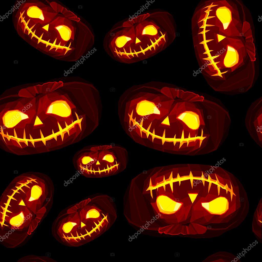 Citrouilles Halloween de basse poly avec visage éclairé