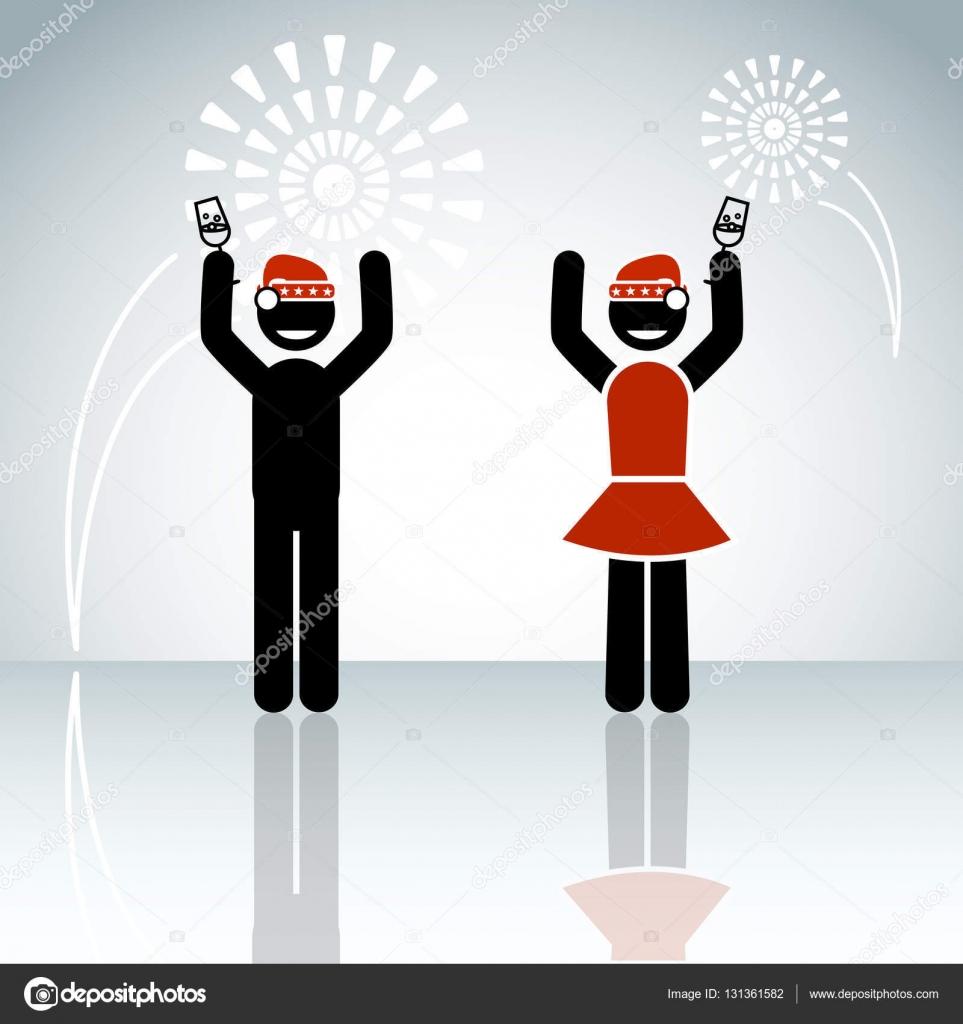 スティック男性カップルが冬背景ウィットの新年を祝う — ストック