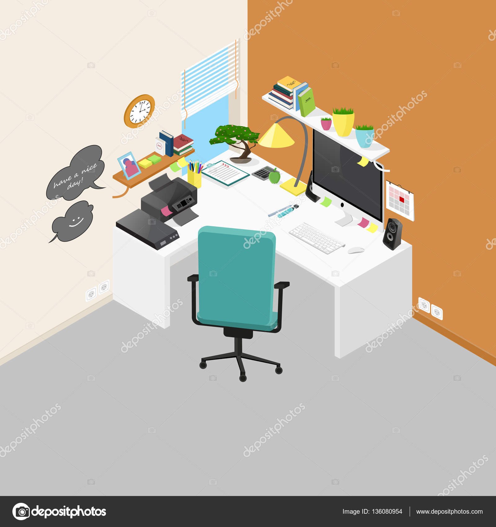isometric office furniture vector collection. vector isometric office workplace with objects and furniture. de \u2014 stock furniture collection