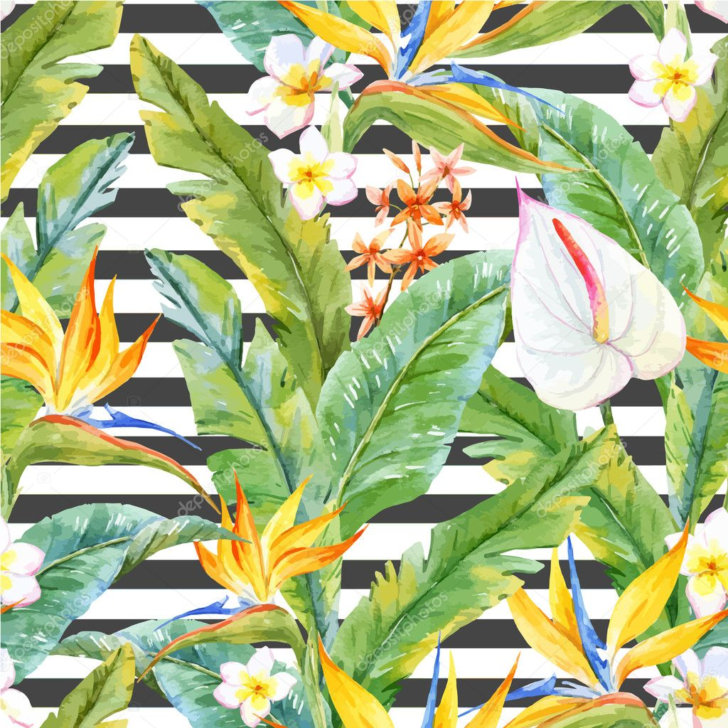 Tropical watercolor pattern