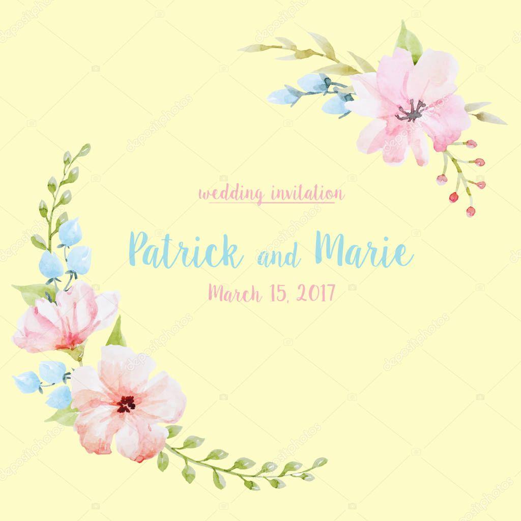 Watercolor floral vector wreath