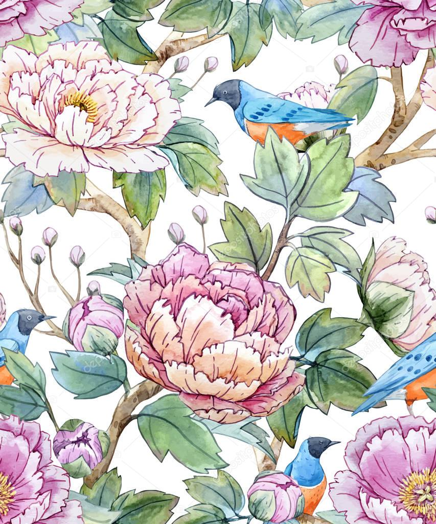 Watercolor floral chinese pattern