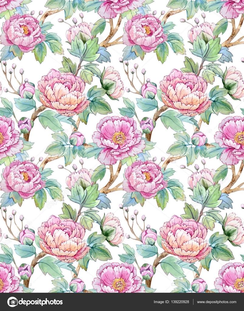 watercolor floral chinese pattern stock vector zeninaasya 139220928