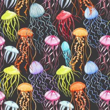 Watercolor jellyfish pattern