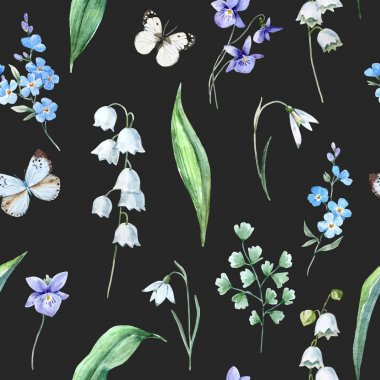Watercolor vector spring floral pattern