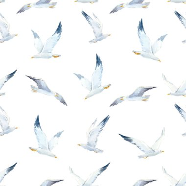 Watercolor seagull vector pattern