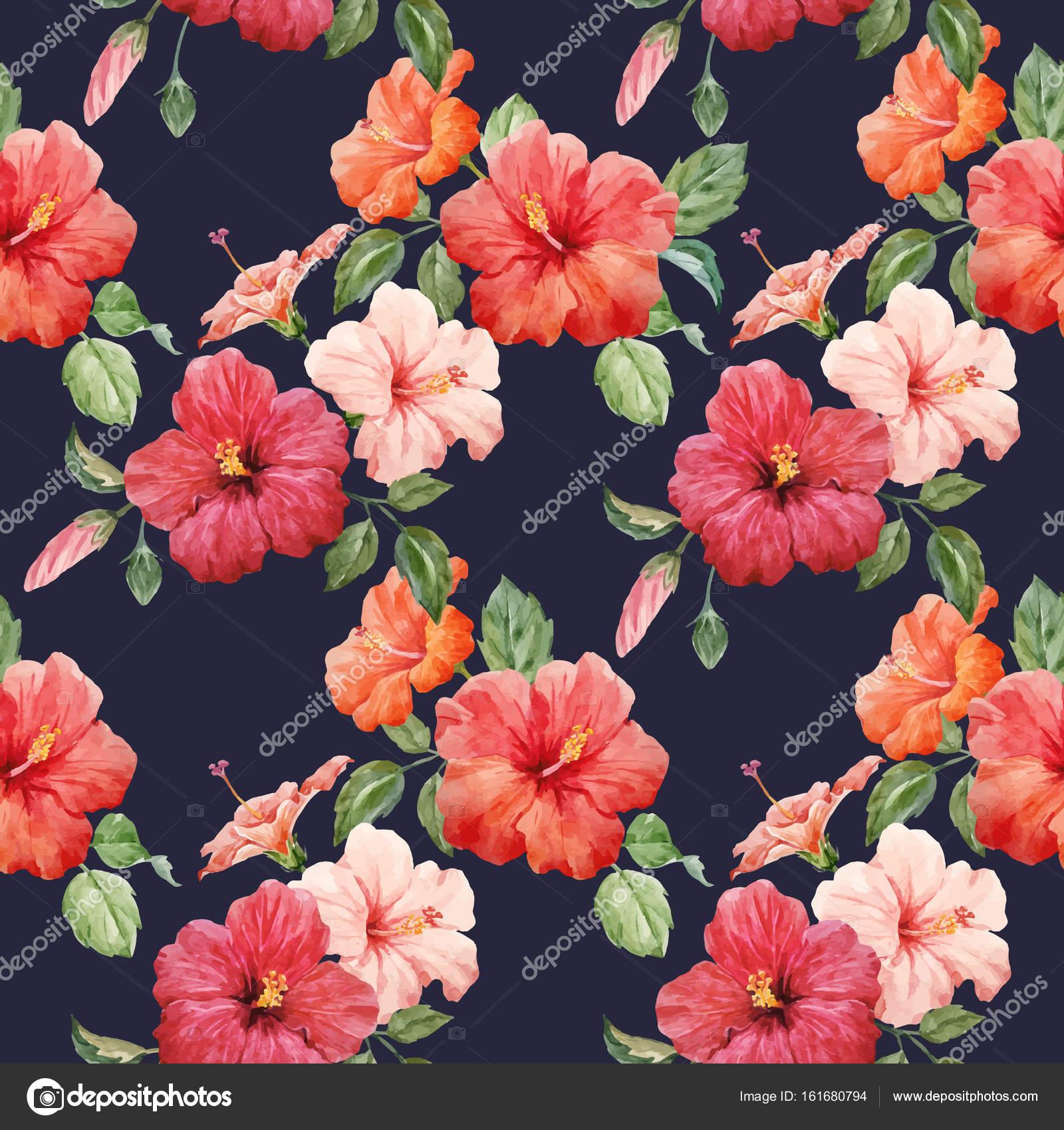 Watercolor Tropical Hibiscus Vector Pattern Stock Vector
