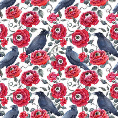 Beautiful halloween seamless pattern with watercolor red roses human eyes and raven stock vector