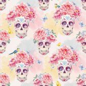 Photo Watercolor skull seamless pattern