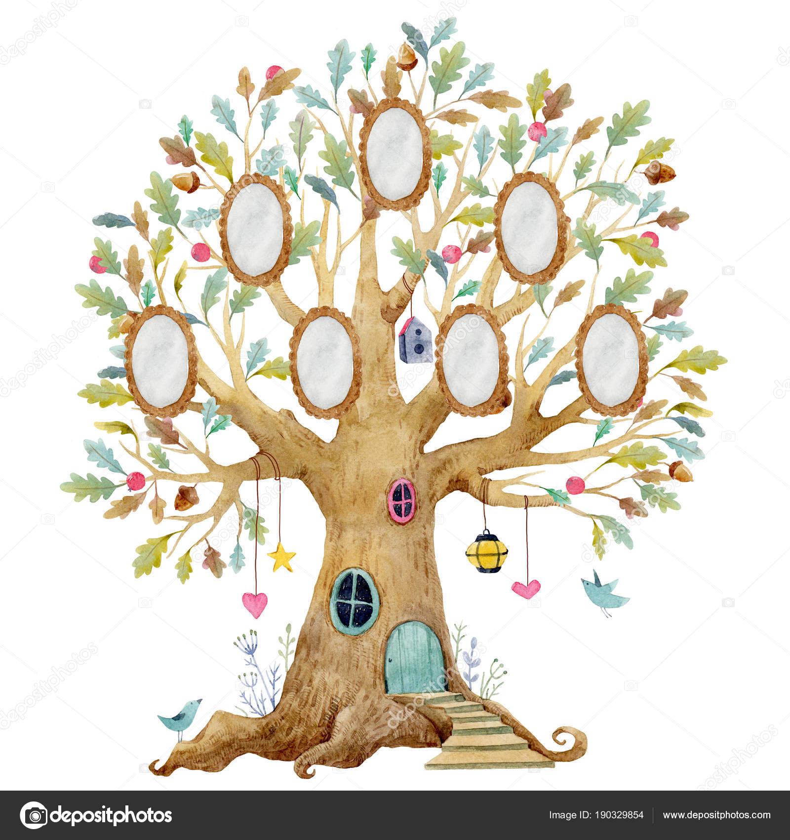 Acuarela casa de árbol con marcos — Fotos de Stock © ZeninaAsya ...