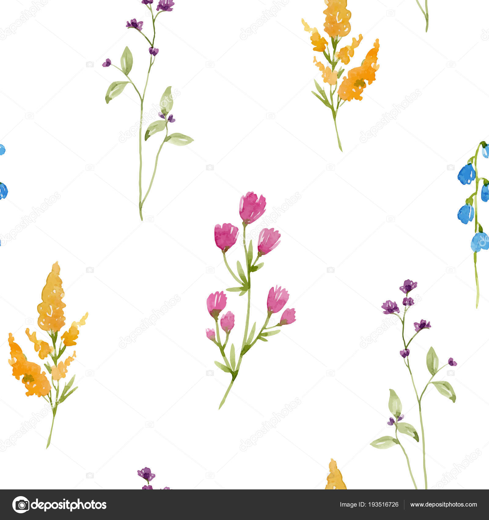 Watercolor Spring Floral Vector Pattern Stock Vector Zeninaasya