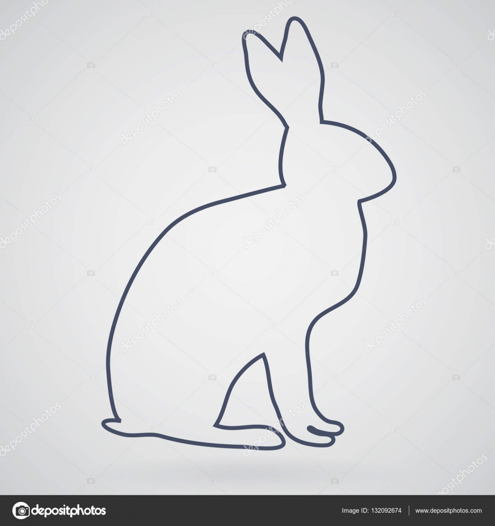 silhouette and outline of the rabbit or hare in the form of icon