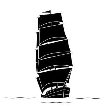 Black silhouette Ship of a two-masted sailboat floating on the w