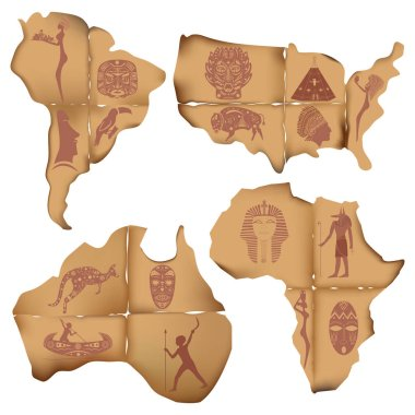 Scraps of old paper in the form of South America, Africa, Austra