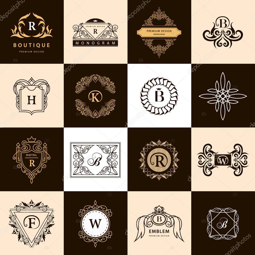 Line Graphics Monogram. Vintage Logos Design Templates Set