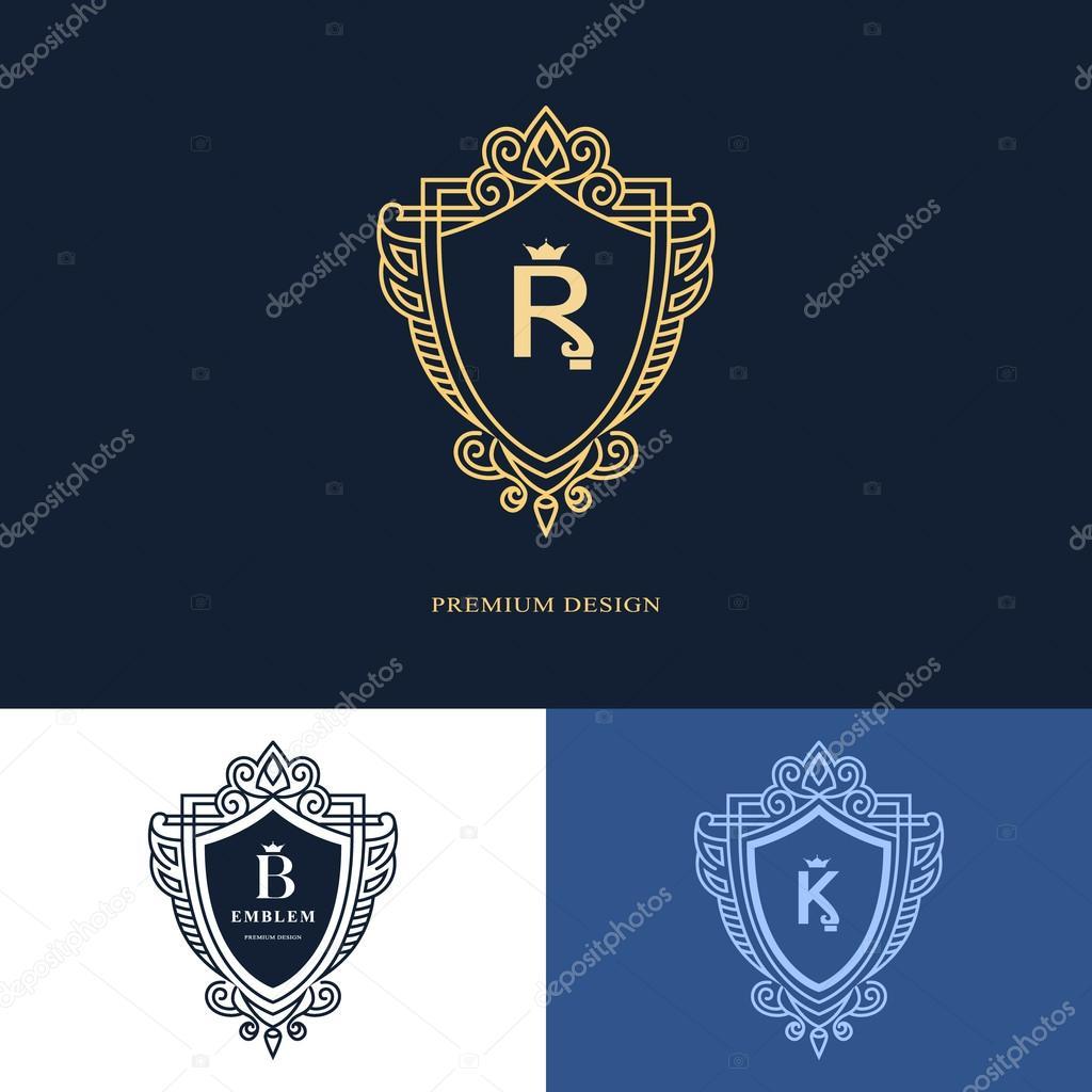 Line graphics monogram. Elegant art logo design. Letter R, B, K ...
