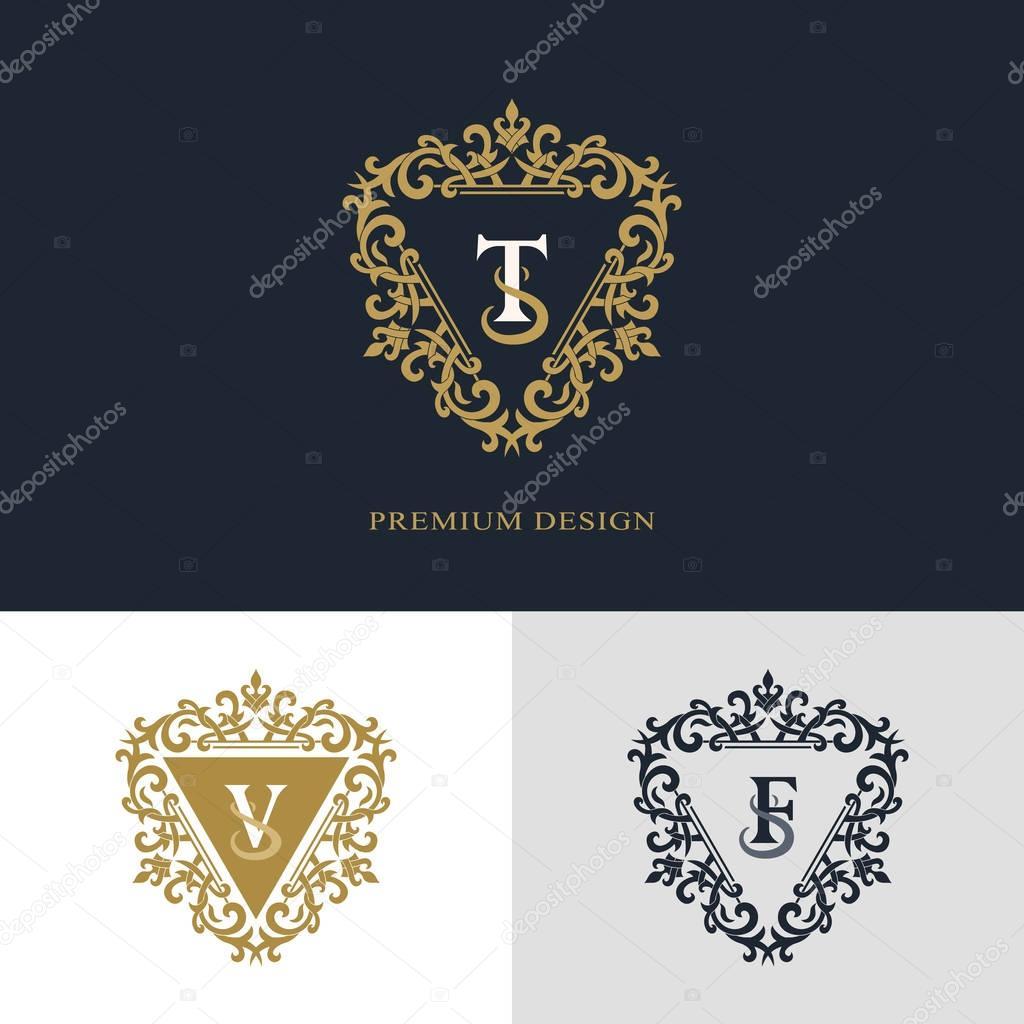 Monogram Design Elements Graceful Template Calligraphic Elegant Line Art Logo Design Letter Emblem Sign T V F For Royalty Business Card Boutique Hotel Heraldic Jewelry Vector Illustration Stock Vector C Fomalygaut 130446068