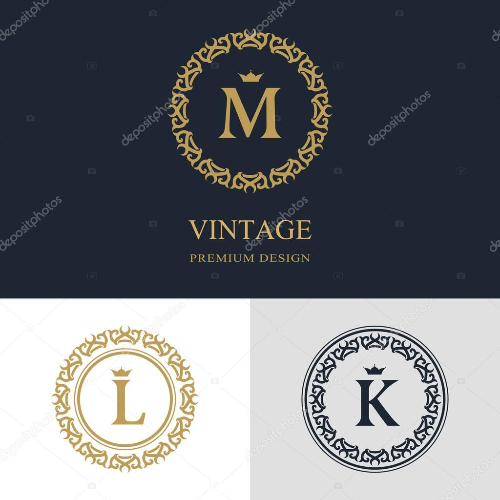 Creation De Logo Dart Calligraphique Ligne Elegante Lettre Embleme Signe M L K La Royaute Carte Visite Boutique Hotel Heraldique Bijoux